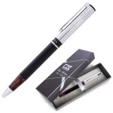 Cutter & Buck Black/Tortoise Shell Draper Ballpoint Pen-Heavy Duty Parts Horizontal Engraved