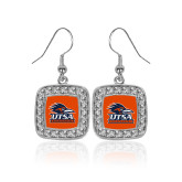 Crystal Studded Square Pendant Silver Dangle Earrings-Primary Logo