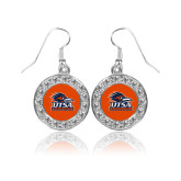 Crystal Studded Round Pendant Silver Dangle Earrings-Primary Logo
