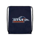 Nylon Navy Drawstring Backpack-UTSA Roadrunners w/ Head Flat