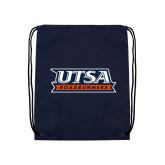 Nylon Navy Drawstring Backpack-UTSA Roadrunners Stacked