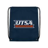 Navy Drawstring Backpack-UTSA Roadrunners Stacked