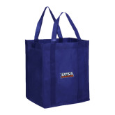 Non Woven Navy Grocery Tote-UTSA Roadrunners Stacked