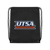 Black Drawstring Backpack-UTSA Roadrunners Stacked