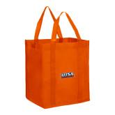 Non Woven Orange Grocery Tote-UTSA Roadrunners Stacked