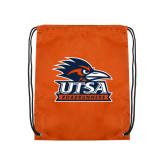 Nylon Orange Drawstring Backpack-Primary Logo
