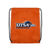 Nylon Orange Drawstring Backpack-UTSA Roadrunners w/ Head Flat