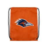 Orange Drawstring Backpack-Roadrunner Head