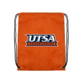 Nylon Orange Drawstring Backpack-UTSA Roadrunners Stacked