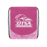 Nylon Zebra Pink/White Patterned Drawstring Backpack-Primary Logo