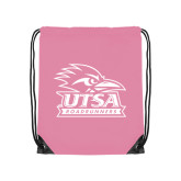 Nylon Light Pink Drawstring Backpack-Primary Logo