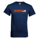 Navy T Shirt-Roadrunners Two Tone Diagonal