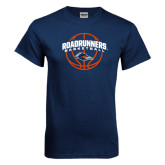 Navy T Shirt-Roadrunners Basketball Arched