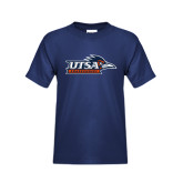 Youth Navy T Shirt-UTSA Roadrunners w/ Head Flat