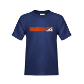 Youth Navy T Shirt-Roadrunners Two Tone Diagonal