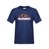 Youth Navy T Shirt-Roadrunners Basketball Half Ball