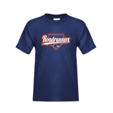 Youth Navy T Shirt-Roadrunners Baseball Script w/ Plate