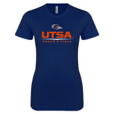 Next Level Ladies SoftStyle Junior Fitted Navy Tee-UTSA Track & Field