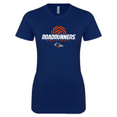 Next Level Ladies SoftStyle Junior Fitted Navy Tee-Roadrunners Volleyball Geometric Ball