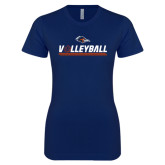 Next Level Ladies SoftStyle Junior Fitted Navy Tee-Volleyball Bar