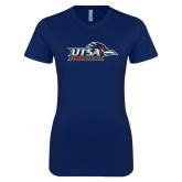 Next Level Ladies SoftStyle Junior Fitted Navy Tee-UTSA Roadrunners w/ Head Flat