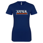 Next Level Ladies SoftStyle Junior Fitted Navy Tee-UTSA Roadrunners Stacked