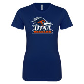 Next Level Ladies SoftStyle Junior Fitted Navy Tee-Softball