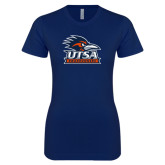 Next Level Ladies SoftStyle Junior Fitted Navy Tee-Primary Logo