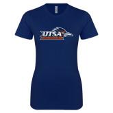 Next Level Ladies SoftStyle Junior Fitted Navy Tee-UTSA Roadrunners w/ Head Flat
