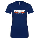 Next Level Ladies SoftStyle Junior Fitted Navy Tee-Roadrunners Football Horizontal