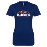 Next Level Ladies SoftStyle Junior Fitted Navy Tee-Roadrunners Basketball Half Ball