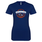 Next Level Ladies SoftStyle Junior Fitted Navy Tee-Roadrunners Basketball Arched