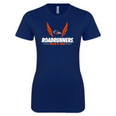 Next Level Ladies SoftStyle Junior Fitted Navy Tee-Roadrunners Track & Field Wings