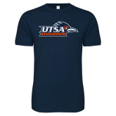Next Level SoftStyle Navy T Shirt-UTSA Roadrunners w/ Head Flat