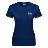 Ladies Navy T Shirt-Primary Logo