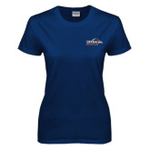 Ladies Navy T Shirt-UTSA Roadrunners w/ Head Flat