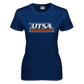 Ladies Navy T Shirt-UTSA Roadrunners Stacked