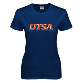 Ladies Navy T Shirt-UTSA