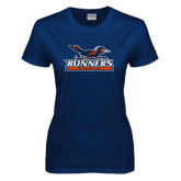 Ladies Navy T Shirt-Runners Athletics