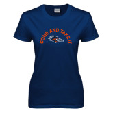 Ladies Navy T Shirt-Come and Take It Arched