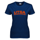 Ladies Navy T Shirt-Arched UTSA Roadrunners