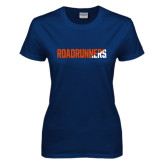 Ladies Navy T Shirt-Roadrunners Two Tone Diagonal