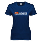 Ladies Navy T Shirt-Roadrunners Bar w/ Head