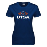 Ladies Navy T Shirt-UTSA Football Stacked w/ Ball
