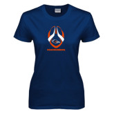 Ladies Navy T Shirt-Roadrunners Football Vertical