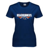 Ladies Navy T Shirt-Roadrunners Football Horizontal