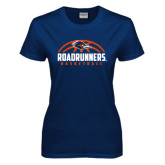 Ladies Navy T Shirt-Roadrunners Basketball Half Ball