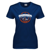 Ladies Navy T Shirt-Roadrunners Basketball Arched