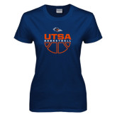 Ladies Navy T Shirt-UTSA Basketball Half Ball