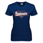 Ladies Navy T Shirt-Roadrunners Baseball Script w/ Plate